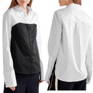 • Tibi • Two Tone Cotton Poplin Shirt Black White